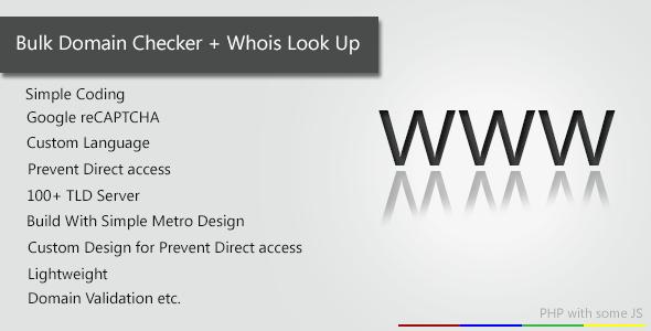 CodeCanyon Bulk Domain Checker & Whois Lookup 4428543