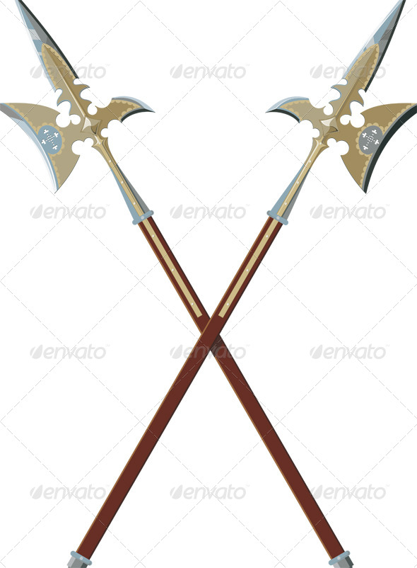 Two Crossed Halberds - Man-made Objects Objects