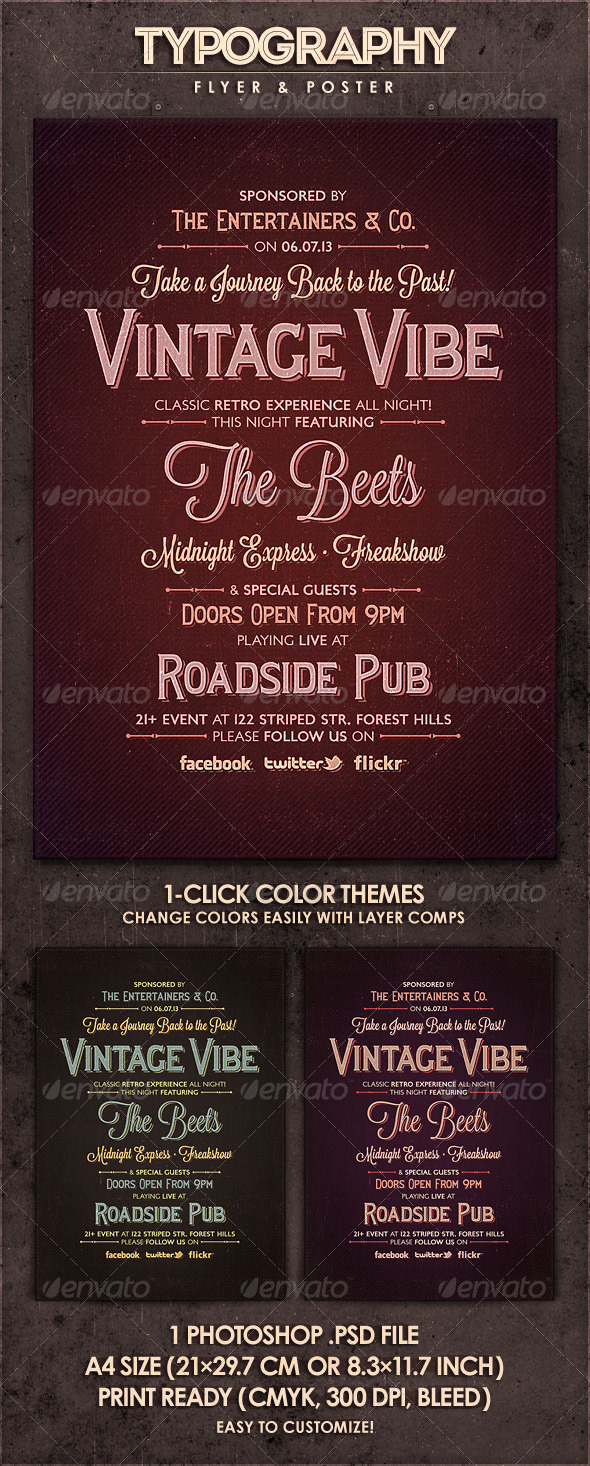 GraphicRiver Vintage Vibe Typography Flyer & Poster 4441144