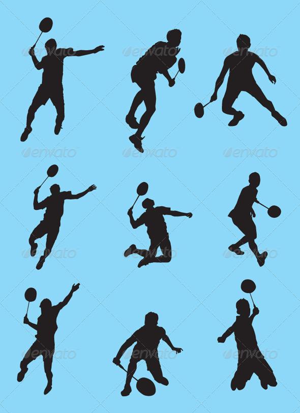 GraphicRiver Badminton Silhouette Vector Set 4441435
