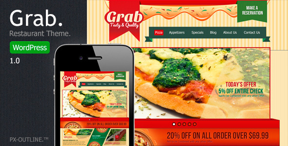 ThemeForest Grab Restaurant WordPress Theme 4270581