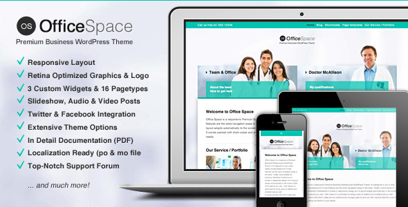 ThemeForest Office Space Responsive Business WordPress Theme 4439972