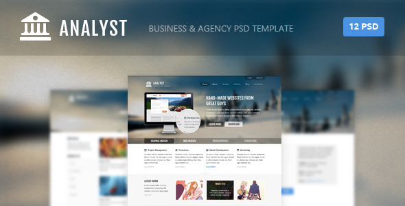 ThemeForest Analyst Business & Agency PSD Template 4441715