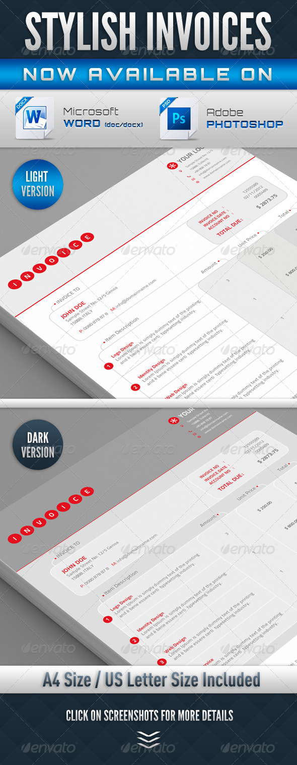 GraphicRiver Stylish Invoices PSD & Word Version 4340500