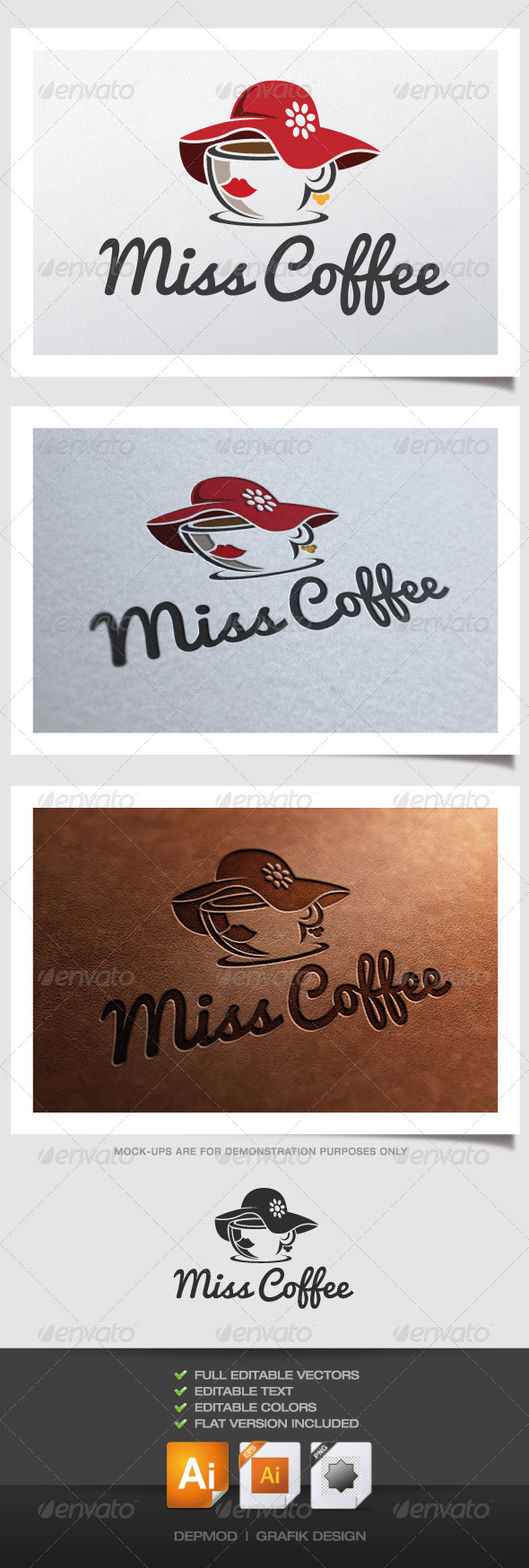 Miss Coffee Logo - Food Logo Templates