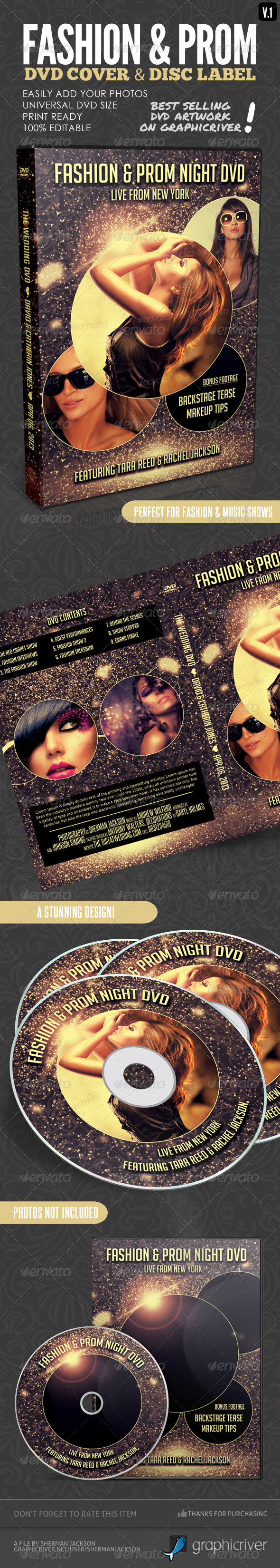 Fashion Show & Prom Night DVD Covers - CD & DVD Artwork Print Templates