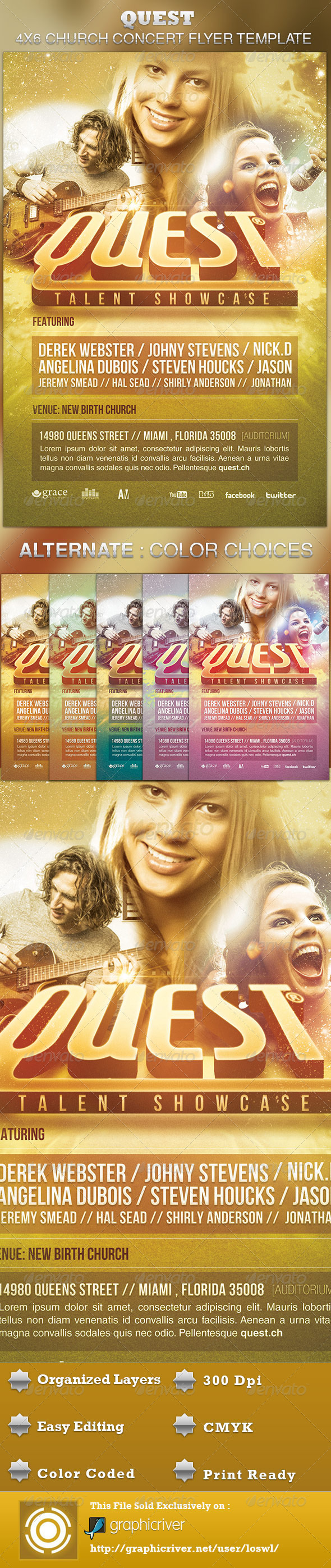 Quest Church Concert Flyer Template - Church Flyers