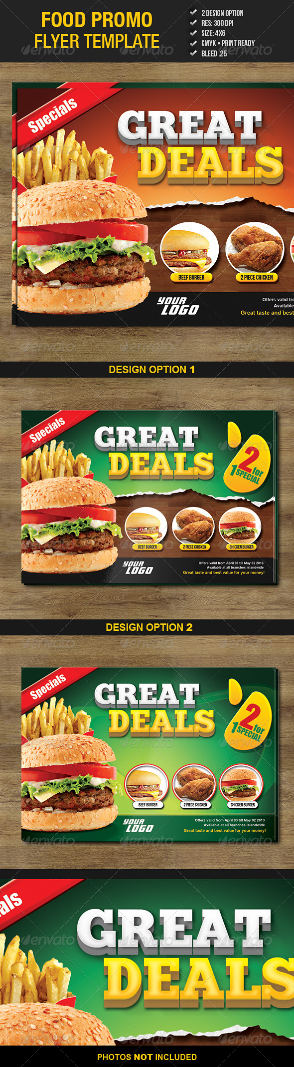 food promo flyer template graphicriver. Black Bedroom Furniture Sets. Home Design Ideas