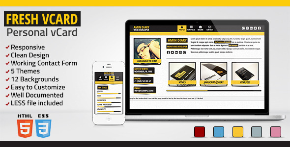 ThemeForest Fresh vCard Responsive Personal vCard 4411574