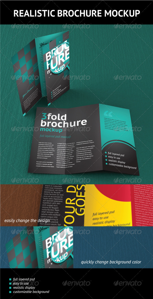 GraphicRiver Trifold Brochure Mockup 474311