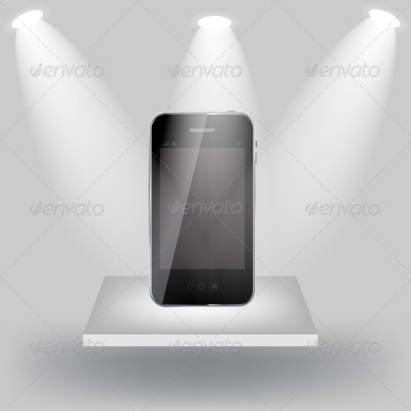 GraphicRiver Mobile Phone on White Shelve on Light Grey Background 4443975