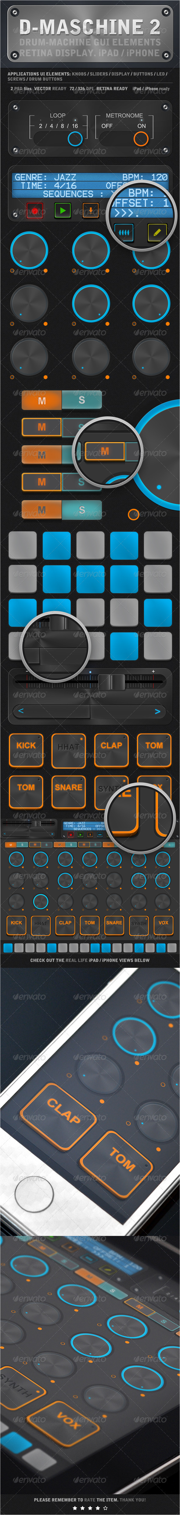 GraphicRiver D-Maschine 2 iPad iPhone UI Elements 4444048