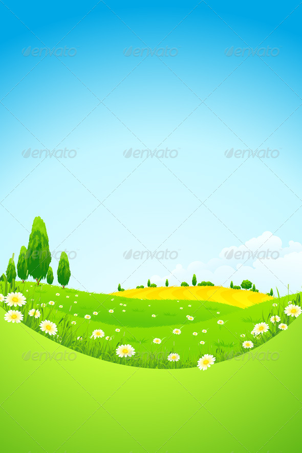 GraphicRiver Green Landscape with Flowers 4444347