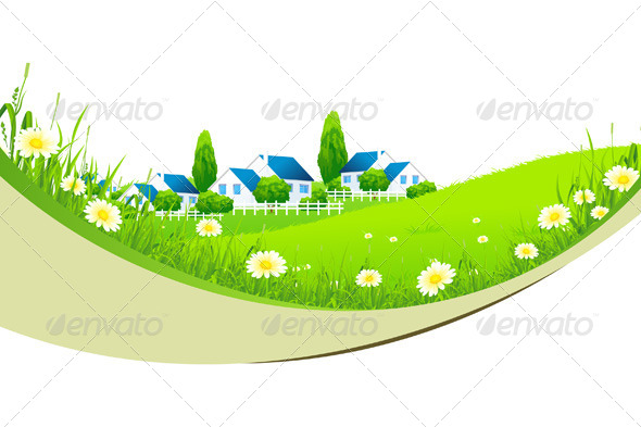 GraphicRiver Green Landscape with Village 4444356