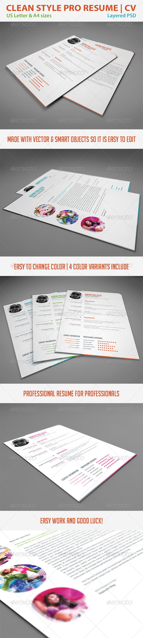 GraphicRiver Clean Style Resume CV 4445233