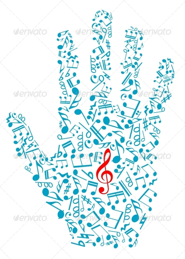 GraphicRiver Human Hand with Musical Notes 4445267