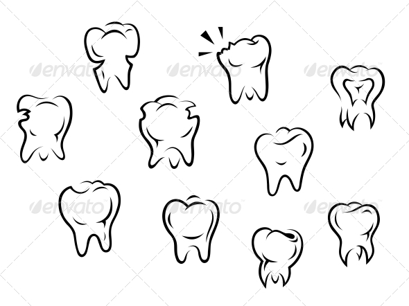 GraphicRiver Set of Health and Illness Teeth 4445509