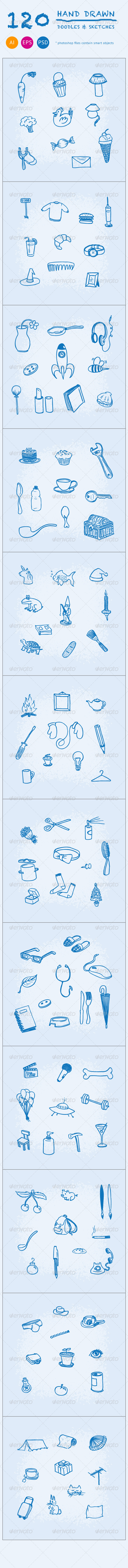 GraphicRiver 120 Hand Drawn Doodles and Sketches 4445914