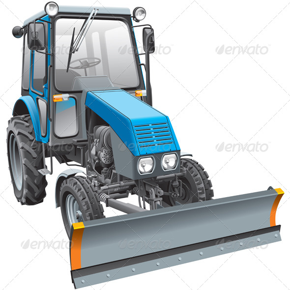 Blue Snow Fighter Tractor - Vectors