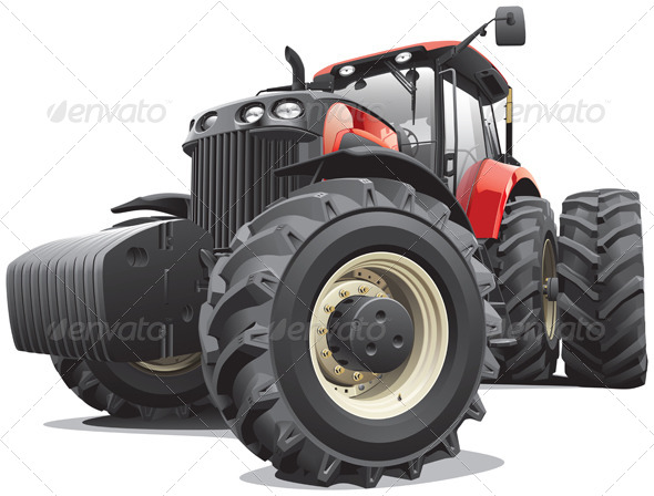 Red Tractor with Large Wheels - Vectors