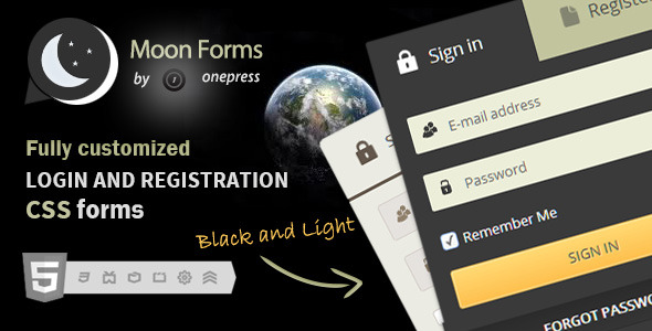 CodeCanyon Moon Forms Login & Registration CSS Forms 4446173