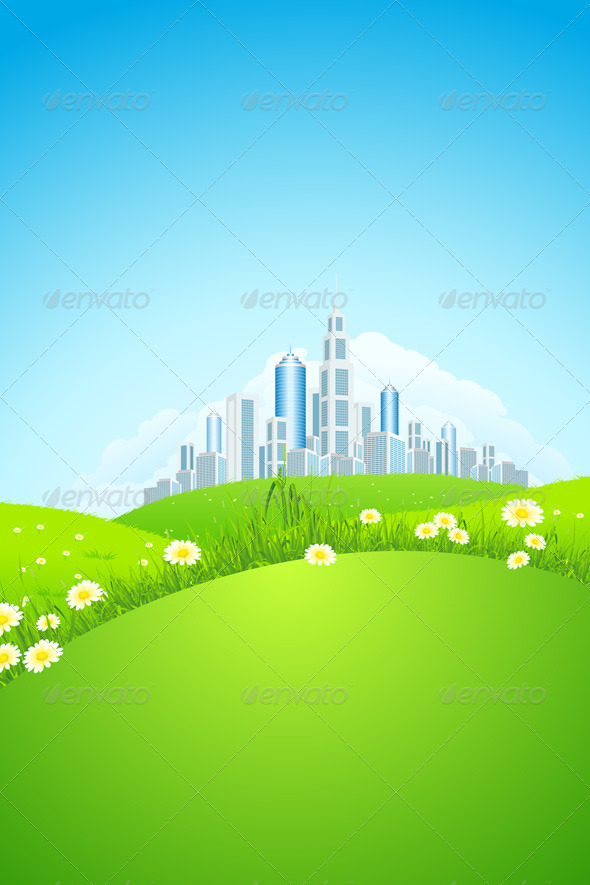 GraphicRiver Green Landscape with City 4446476