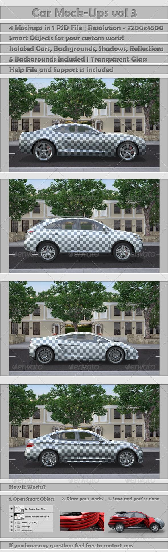 Car Mock-Ups v3 - Vehicle Wraps Print