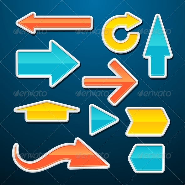 GraphicRiver Set of Vector Glossy Arrows Stickers 4446713