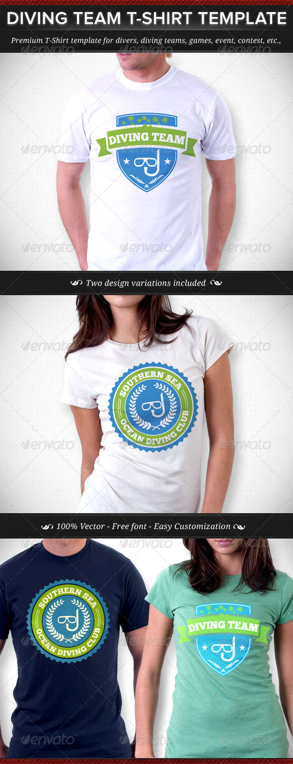 GraphicRiver Diving Team T-Shirt Template 4446723