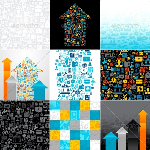 GraphicRiver Abstract Backgrounds of the Business Icons 4446727