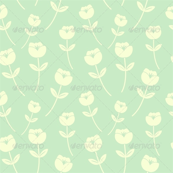 GraphicRiver Light Green Seamless Floral Pattern 4446828