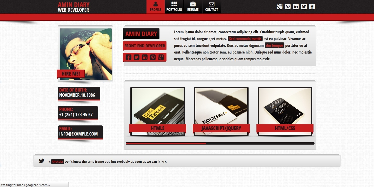 Fresh  vCard - Responsive Personal vCard