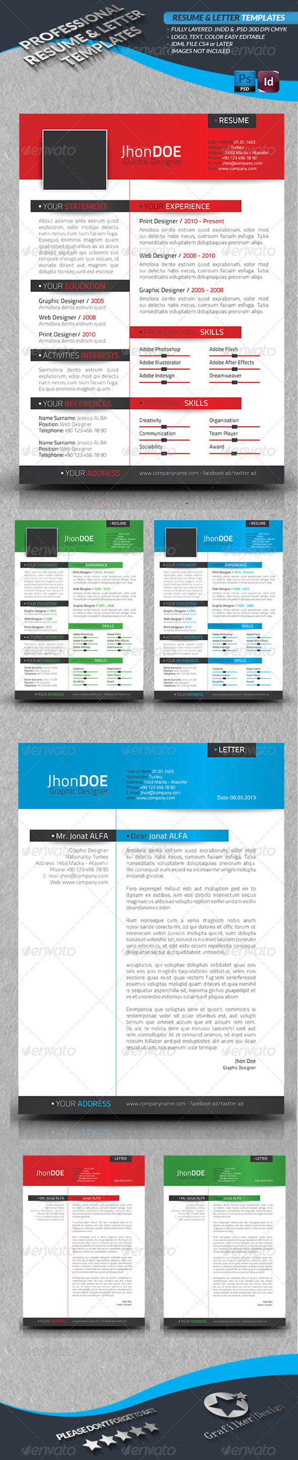 GraphicRiver Resume & Letter Templates 4449244