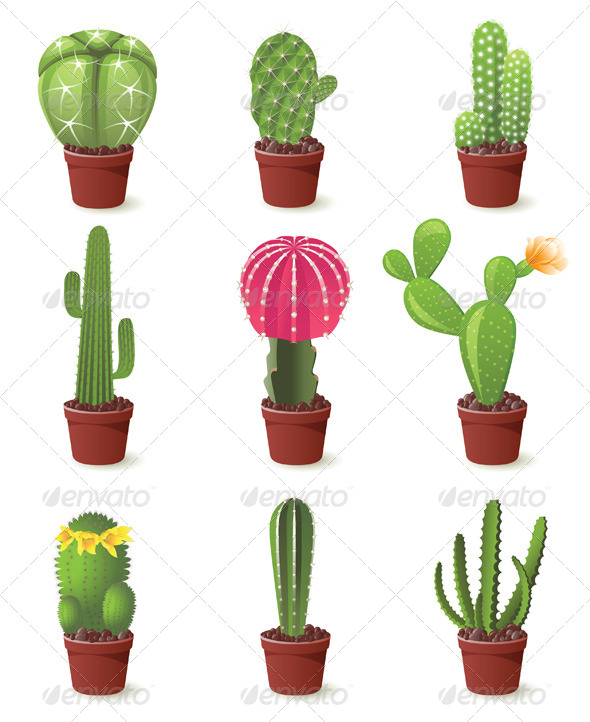 GraphicRiver Cactuses Icons 4449257