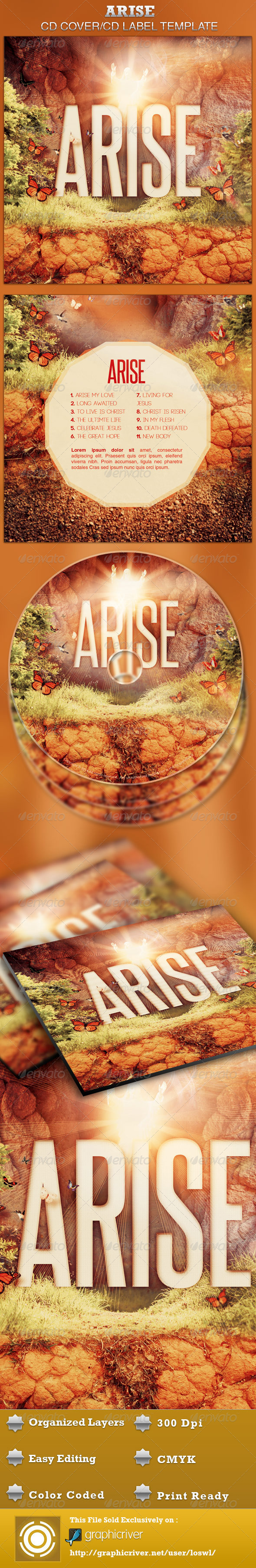Arise CD Artwork Template - CD & DVD artwork Print Templates