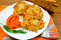 Fritters chicken with vegetables and bread on a board - PhotoDune Item for Sale