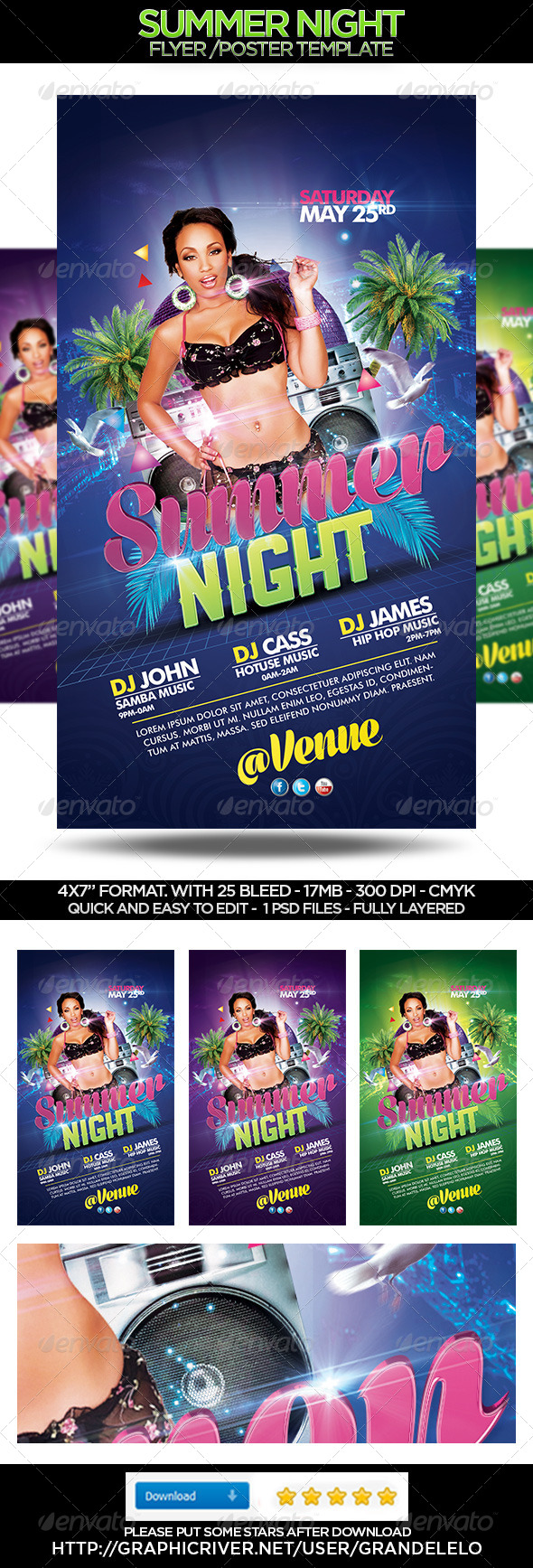 GraphicRiver Summer Night Flyer Template 4449606