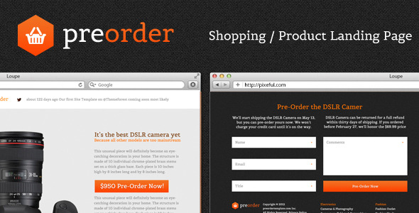 PreOrder - Shopping / Product Landing Page