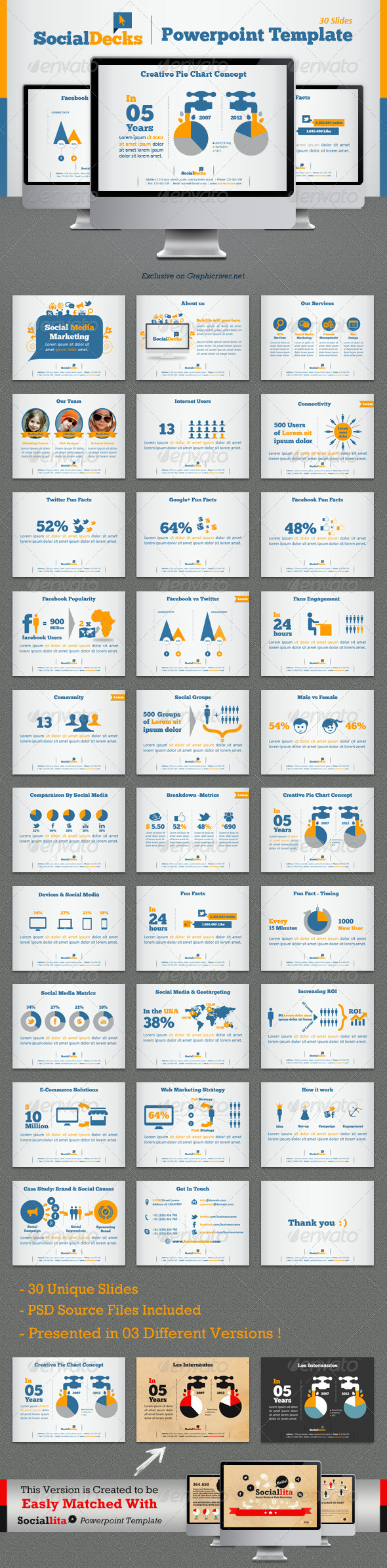 GraphicRiver SocialDecks Powerpoint Template 4450348