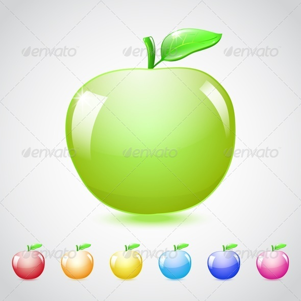 GraphicRiver Set Of Glass Apples 4450626