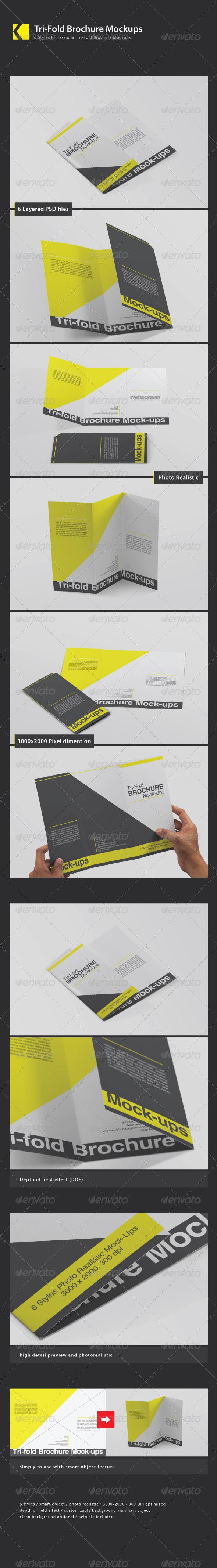 GraphicRiver Tri-Fold Brochure Mockups 4450789