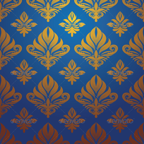 Gold and Blue Decorative Pattern - Patterns Decorative