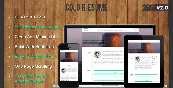 ThemeForest Colo Resume Responsive CV 4388822