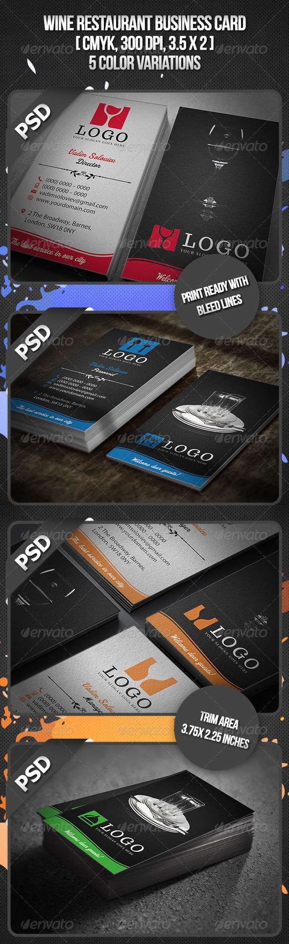 GraphicRiver Wine Restaurant Business Card 4451321