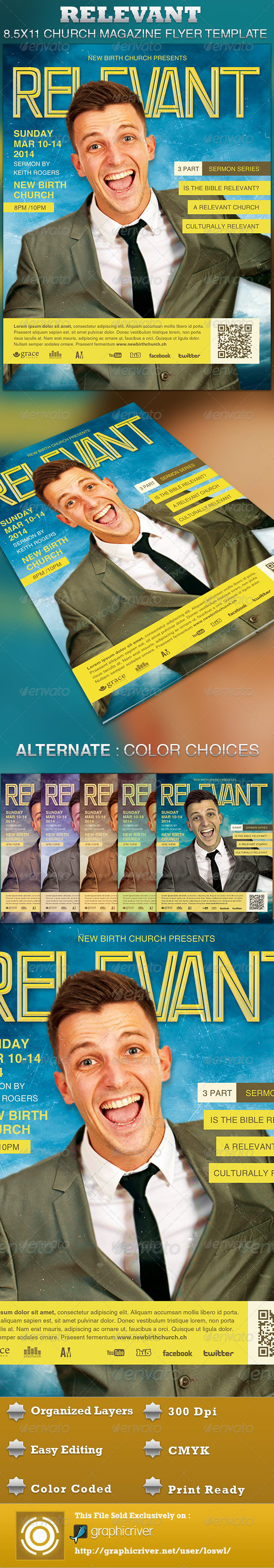 Relevant Church Magazine Flyer Template - Church Flyers