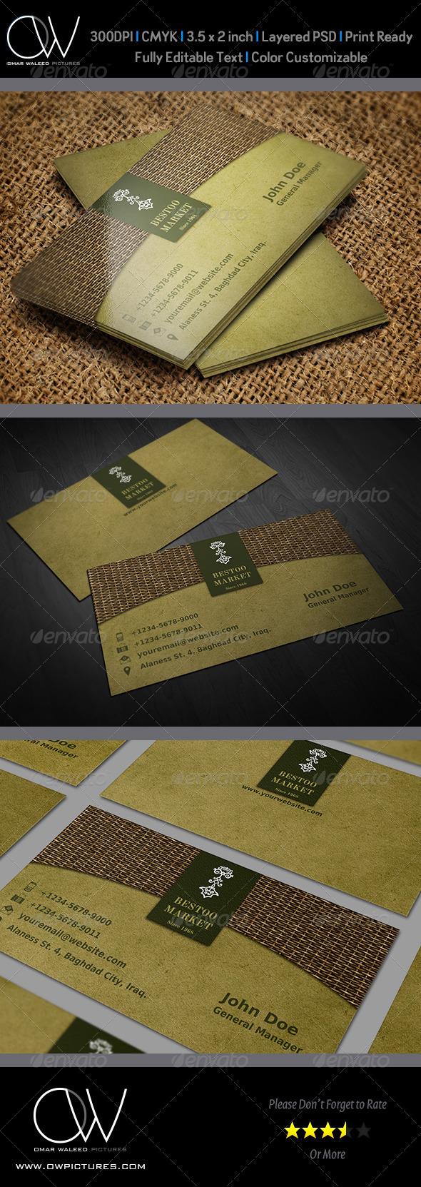 GraphicRiver Shop Market Business Card 4452104