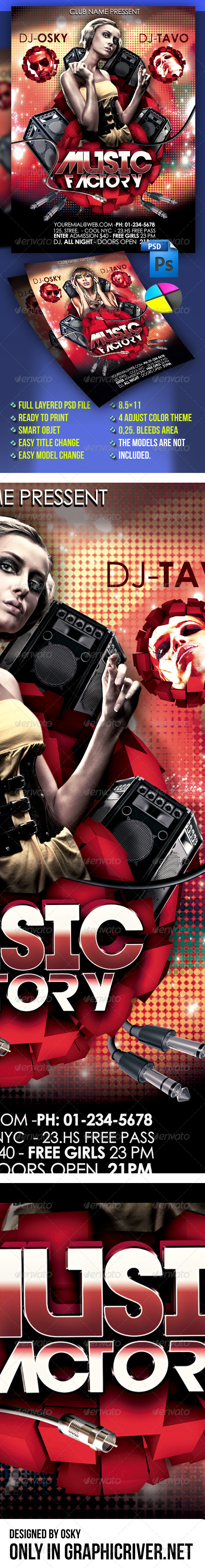 GraphicRiver Music Factory Flyer 4289764