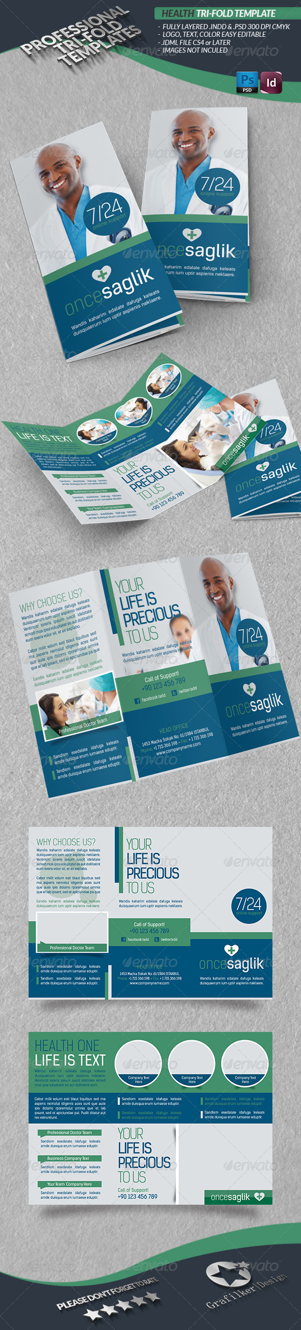 GraphicRiver Health Tri-fold Template 4452995