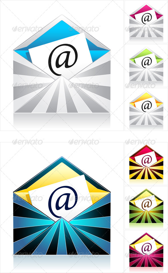 GraphicRiver Set Envelopes with Rays and Symbol Email 4453212