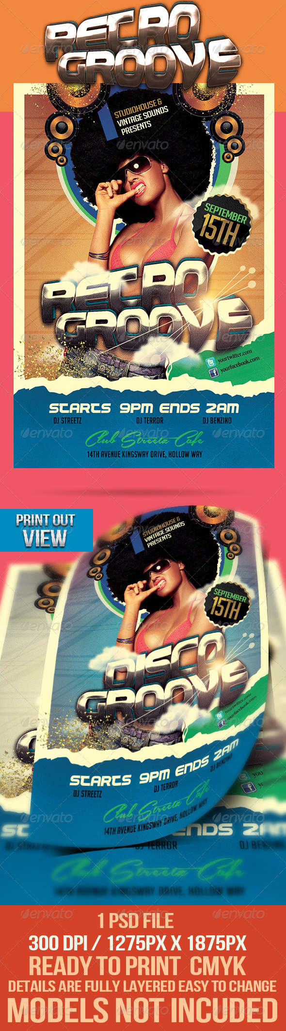 GraphicRiver Retro Groove Party Flyer 4357967